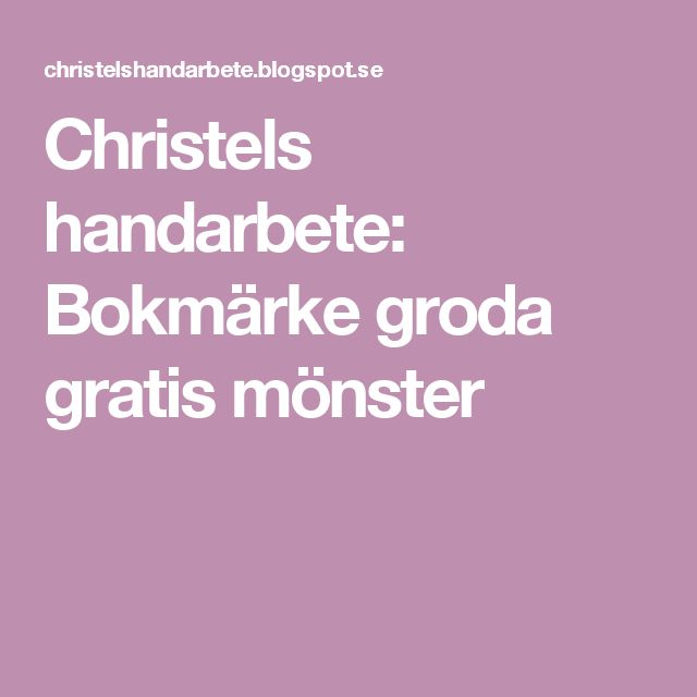 Christels handarbete: Bokmärke groda gratis mönster