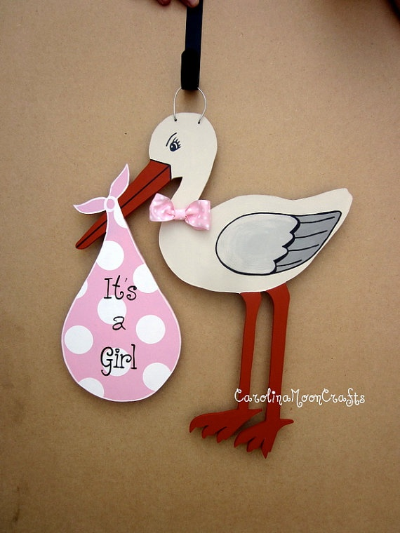 New Baby Girl Stork Door Decor  It's a girl by CarolinaMoonCrafts, $39.95