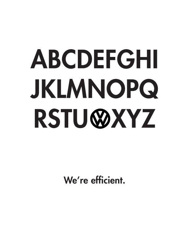 'Volkswagen: We're efficient'- Simple but Brilliant Ad: pic.twitter.com/83o0L7eVnX #branding #advertising