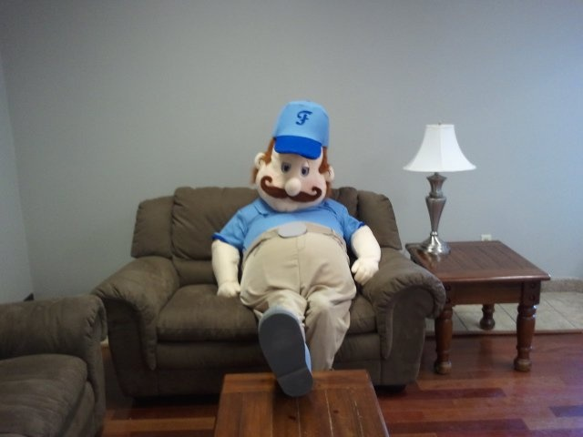 Floyd hanging out at his house #interiordesign #house #home #events #promotions #marketing #fun #mascot