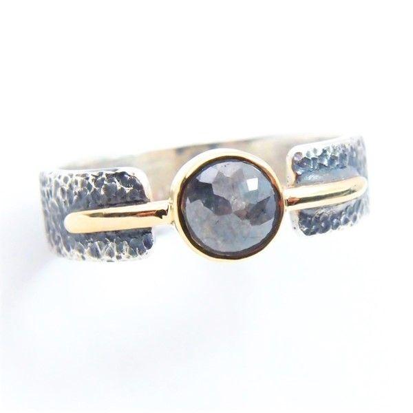 diamond trap... obrączka z diamentem rosecut / lookrecya / Biżuteria / Pierścionki diament naturalny, diament, złoto, diament rosecut, srebro szary, oryginalny, delikatny, elegancki, srebrno-złoty pierścionek, pierścionek z diamentem