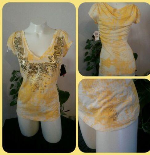 Women-039-s-Baby-Phat-Size-Medium-Med-Yellow-Short-Sleeve-Top-Shirt-Sexy-V-Neck