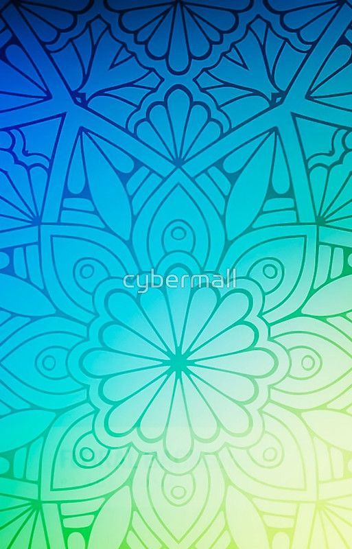 Blurred Green Blue Background With Flowers