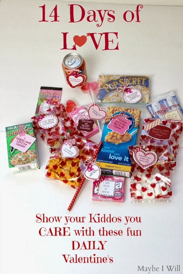 14 Days of Love for your Kiddos! 14 Fun Gifts to give your kiddos everyday until Valentine's!! + Free Printable! #valentines #gifts #printable {www.maybeiwill.com}