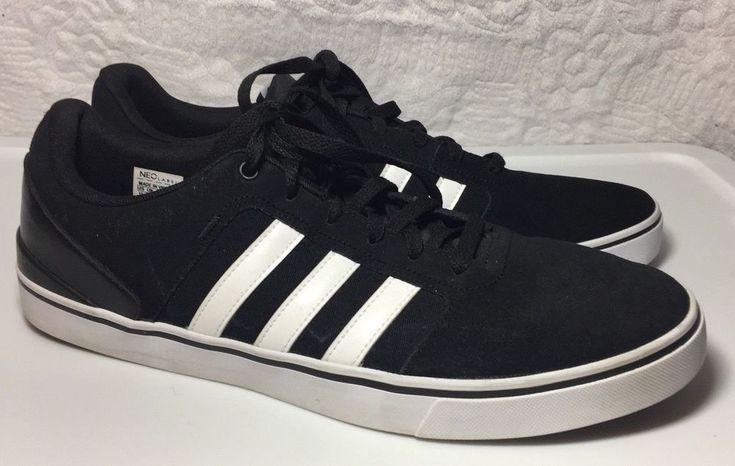 Adidas Men's Black White Stripes Suede Neo Ortholite Shoes Size 13 #Adidas #Walking