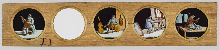 Anonymous | Vier beroepen naar Het menselyk bedryf, Anonymous, Jan Luyken, Caspar Luyken, c. 1700 - c. 1790 | Vier glaasjes met uitbeeldingen van beroepen in een houten vatting. Een vijfde glas (tweede van links) ontbreekt. Uiterst links: de muzikant speelt op een luit. Rechts daarvan: ontbreekt. In het midden: de instrumentmaker, in zijn linkerhand een luit, links en rechts van hem een cello. Rechts daarvan: de borduurder, zittend aan een tafel bij het raam. Uiterst rechts: de kleermaker…