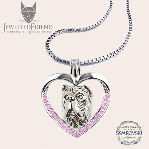 Check out Neapolitan mastiff jewelry necklace pendant with swarovski crystal on jewelledfriend
