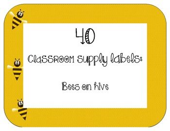 40 Classroom Supply Labels Bees On Hive