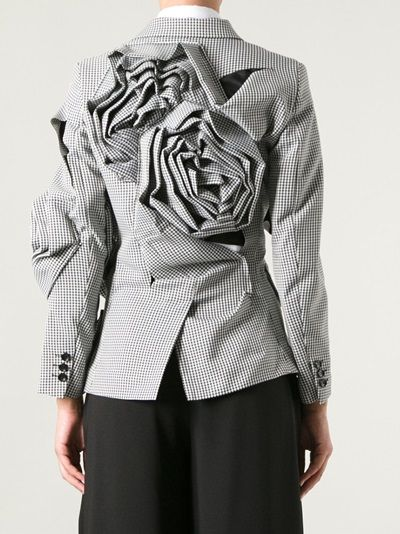 Wearable Art - sculptural fashion with manipulated fabric flowers integrated into the jacket structure; 3D fashion // Comme des Garcons