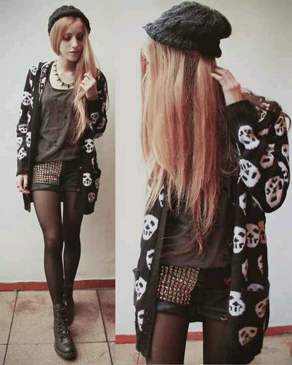 Edgy Outfit My Style Edgy Bold Pinterest Spikes Grey And Beanie