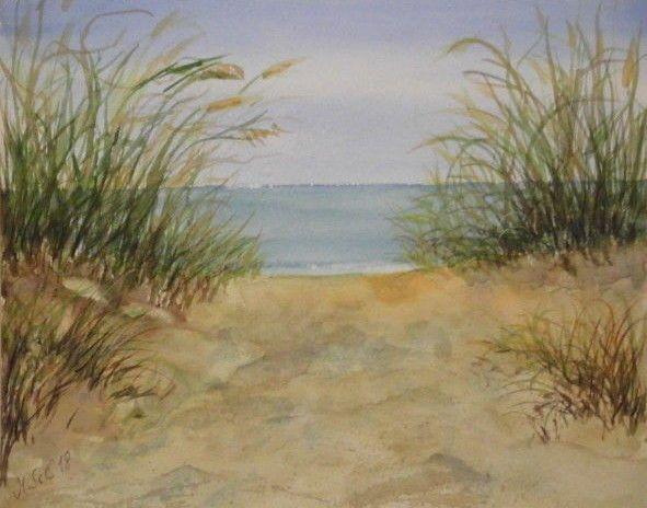 Original Aquarell Ca 19 24 Cm Am Strand Landschaft Dunen See