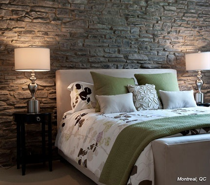 Bedrooms grey southern ledgestone cultured stone brand for Grey feature wallpaper bedroom