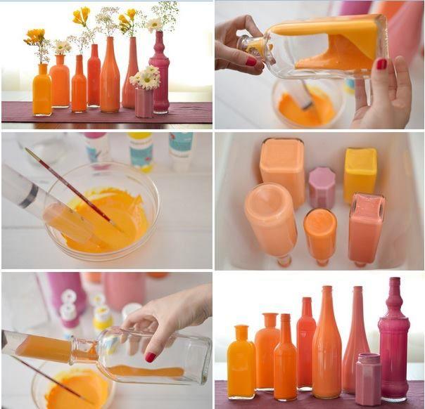 Técnica fácil para pintar botellas de vidrio, use tinta vitral o esmalte.