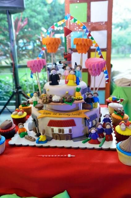 Lucia S Pista Sa Nayon Themed Party Cake