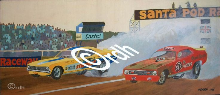 drag racing art limited edition artwork print Funny Car Burnout by RichardDelaportHearn on Etsy