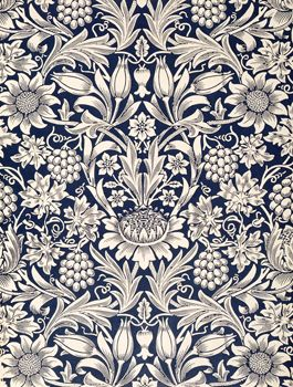 Sunflower Wallpaper by William Morris (1834-96) Can not resist blue and white.