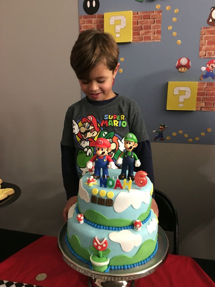 Noah's 6th birthday cake. Super Mario