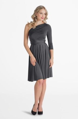 Iris Charcoal Grey Midi Convertible Dress