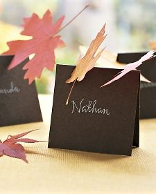 Direct guests to their seats with name cards topped by leaves that look like they just blew in. To make each card, fold a piece of brown cover-weight card stock in half. Write guest's name with a white gel pen. Cut 1 or 2 notches (about 1 inch wide) in card, at an angle. Slide fallen leaves -- fresh or dried and pressed -- into each notch.
