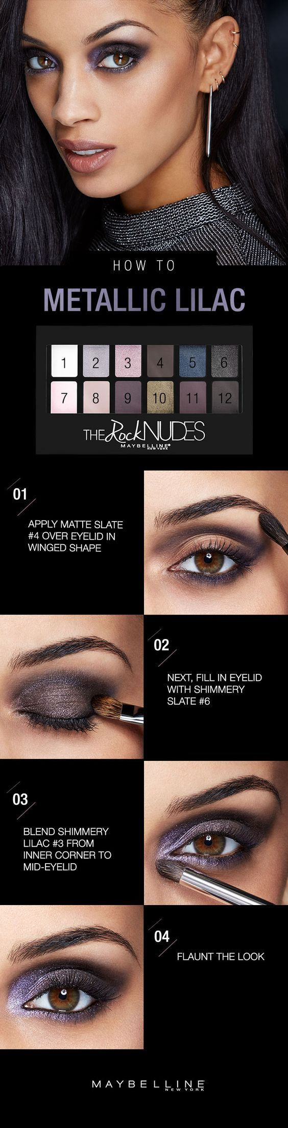 Feeling dark and daring this winter? Take this metallic smoky eye with a pretty amethyst shine and run with it. Grab your Maybelline Rock Nudes eyeshadow palette and apply the matte slate shade from inner to outer corner of eyelid, forming a wing shape. Smudge with brush to smoke out your wing, then fill in your eyelid with shimmery slate before blending it all in with shimmery lilac from your inner corners to mid-eyelid. Oh yeah. You're a badass. Click for the full step-by-step!: