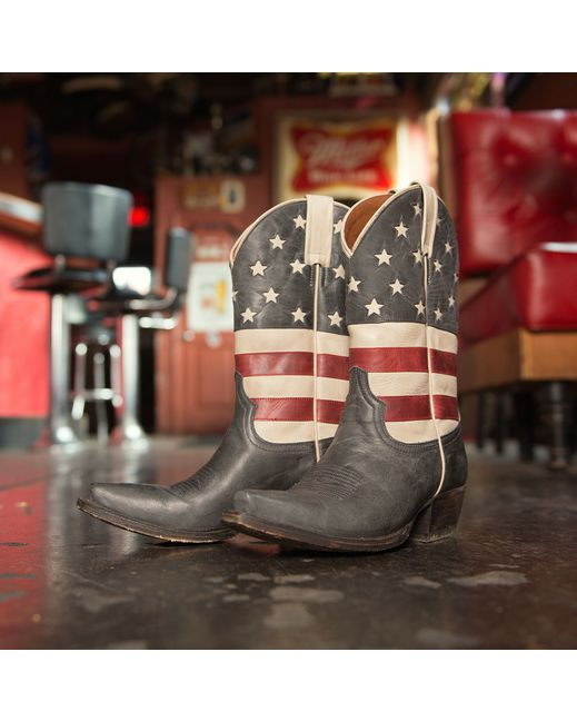 American Rebel Boot Company Women's Colt Ford Stars & Stripes Boot - Aged Blue Jean  http://www.countryoutfitter.com/products/67003-womens-colt-ford-stars-and-stripes-boot-aged-blue #America #AmericanFlag #4thofJuly