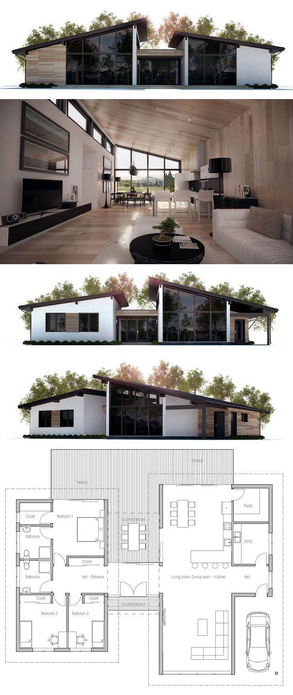 Planta casa, dos elementos, área social, área privada