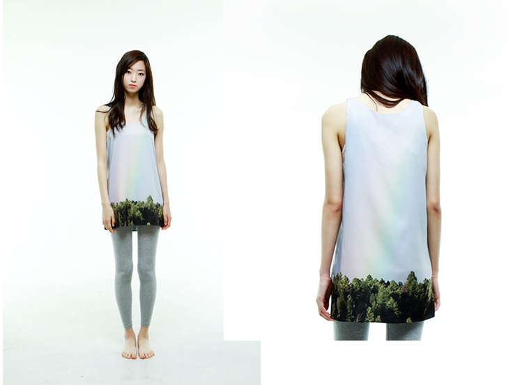 al,thing - Digital print sleeveless onepiece