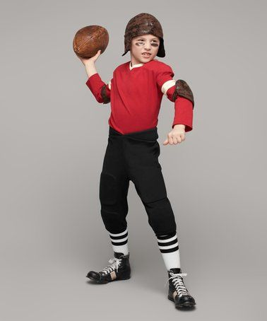 Love this Red & Black Retro Football Player Dress-Up Set - Boys on #zulily! #zulilyfinds