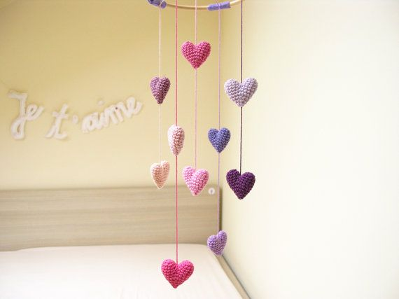 Heart Baby Mobile by cherrytime on Etsy, $63.00