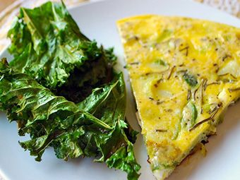 Potato and Leek Frittata with Kale Chips