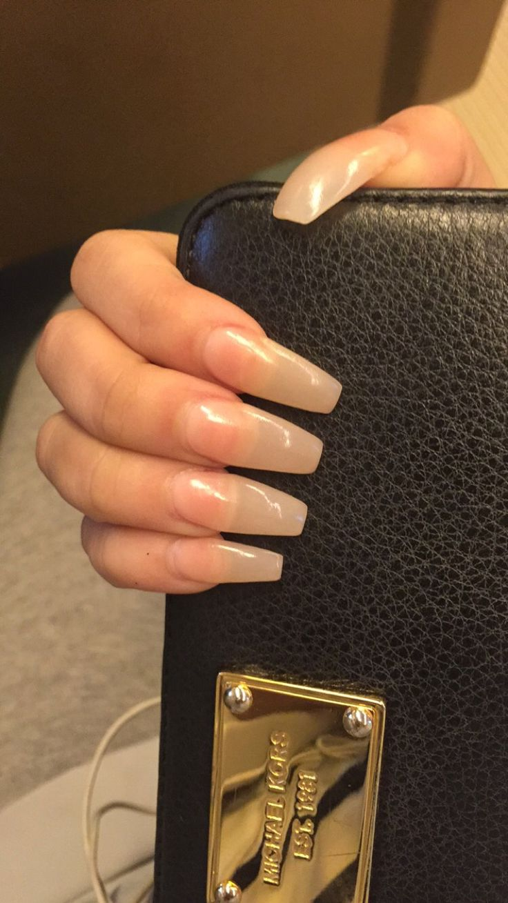 Long Clear Nude Coffin Shape Acrylic Nails #MichaelKors #Wallet