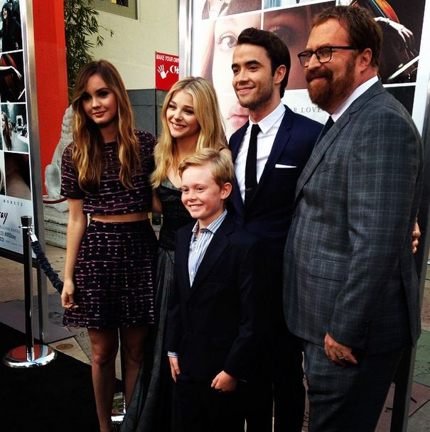 If I Stay reunion! Liana Liberato, Chloe Grace Moretz, Jakob Davies, Jamie Blackley, and R.J. Cutler at the If I Stay Premiere.