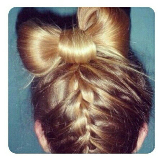 Blonde upside down french braid with hair bow