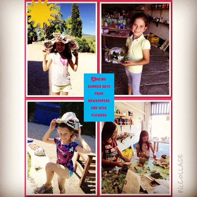 Designer hats made with newspapers and wild flowers #creative #summercamp #kids
