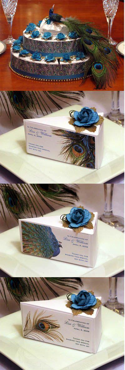 Peacock Wedding Favors   LMK Gifts Peacock Wedding 50 Favor Cake Box Centerpiece