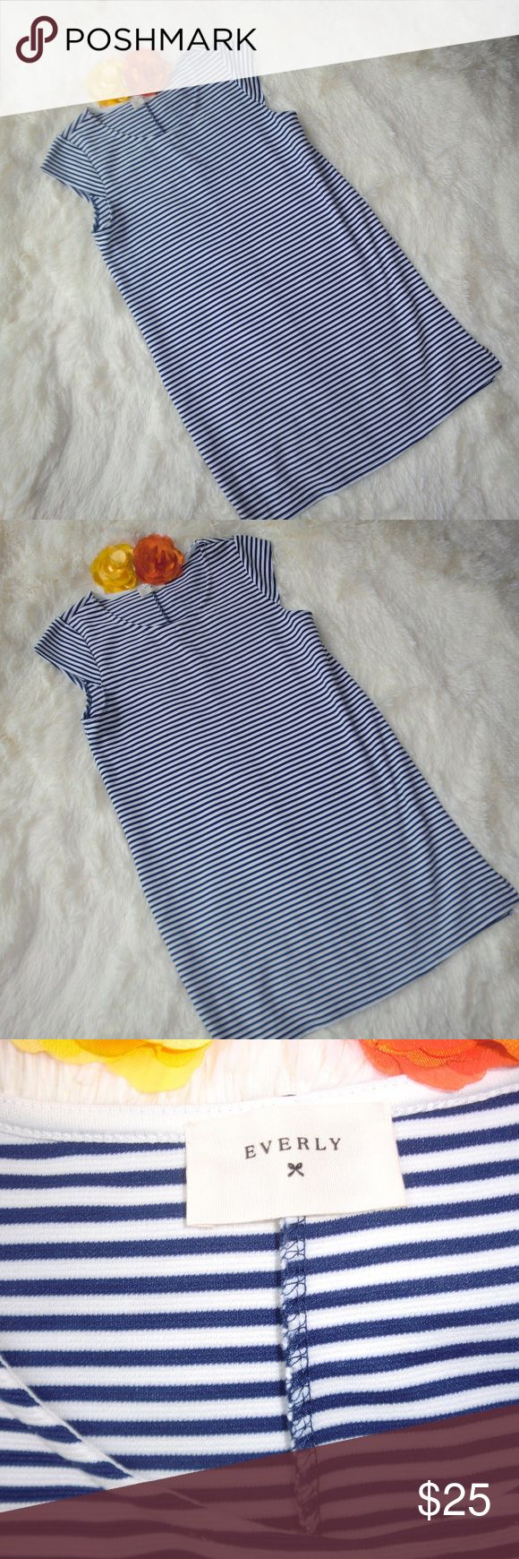 Nordstrom Everly Dress Striped Blue White EUC M Adorable dress by Everly in blue and white stripes, size medium.  Dress has short sleeves and two small slits on either side of hem as pictured.  Dress is in excellent condition with no spots or tears. Everly Dresses