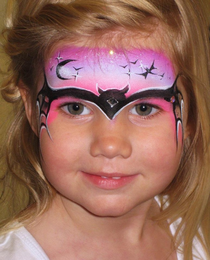 girls version of cool batman face painting by becstar design liking the sky on this one - Halloween Face Painting For Girls