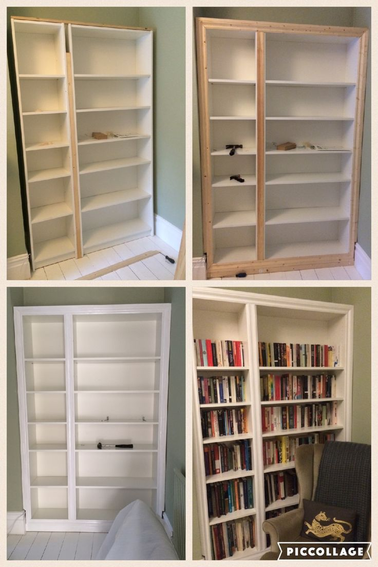 ikea hack billy bookcase modified to look like built in alcove shelving home ideas. Black Bedroom Furniture Sets. Home Design Ideas