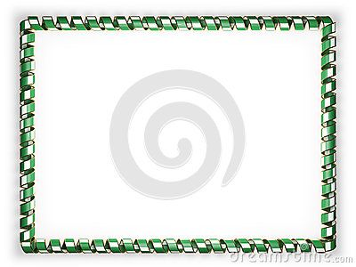 Frame and border of ribbon with the Nigeria flag, edging from the golden rope. 3d illustration.
