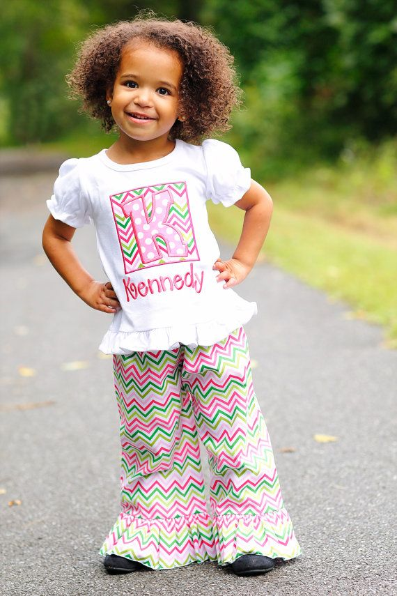 Fun Girls Alpha Shirt featuring Pink/Green Chevron with Candy Polka Initial on Etsy, $24.00