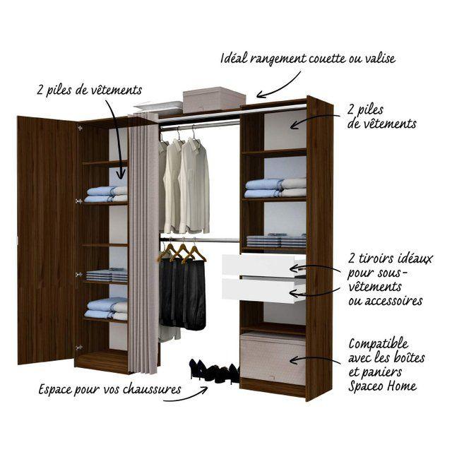 Kit Dressing Effet Noyer Dresscode H 220 X L 220 X P 50 Cm X P De La Joue50 Cm Rangement Amenagement Maison Dressing Chambre