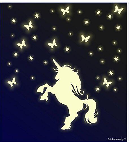 Vintage Stickerkoenig Kinderzimmer Wandtattoo Leuchtsticker Einhorn mit Schmetterlingen Sternen Sternenhimmel leuchten im Dunkeln Sticker Orafol nachtleuchtend