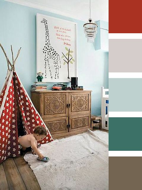 Red and Soft Turquoise Color Scheme for David's Bedroom