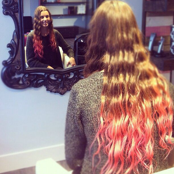 Red ombré! Such amazing long hair! www.dollhousehair.ca