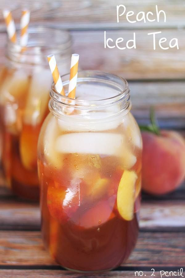Peach Iced Tea!  This Peach Iced Tea is so refreshing and absolutely gorgeous, making it perfect for a party. I'm partial to serving it in a mason jar with a striped straw, but this would be beautiful served in a large glass pitcher as well.