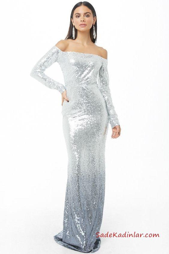 e77b7bb108ec5 Yılbaşı İçin Gece Kıyafetleri Gümüş Straplez Uzun Kollu Payetli Kuyruklu  Abiye Elbise #moda #fashion #fashionblogger #promdresses #evening  #eveningdresses ...