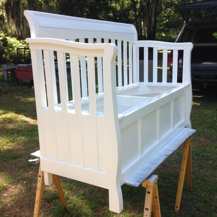 Looking for woodworking project inspiration? Check out Repurposed Baby Crib into Storage Bench by member cthomas.s4211155.