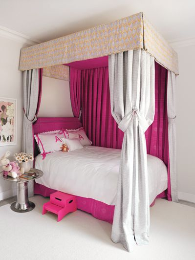 Little Girls Rooms, Sarah Bartholomew-Bartholomew Designs - clever way to place bed against wall and not have it look odd