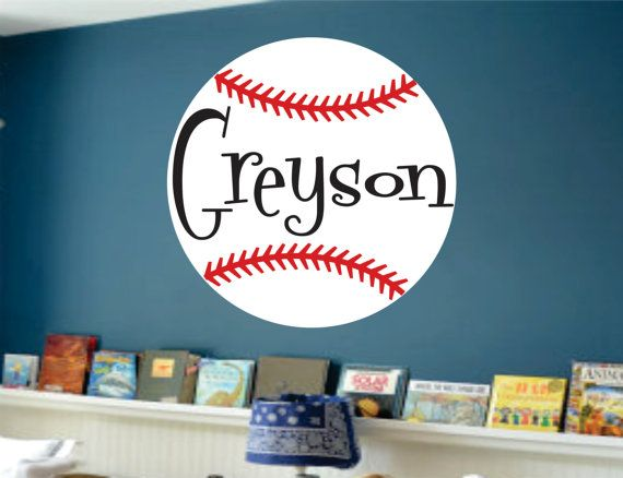 Baseball Name Wall Decal