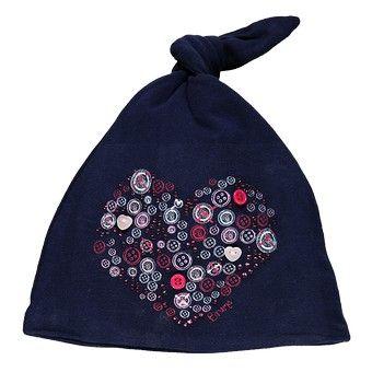 Cappello, Brums, neonata, in jersey stretch, tinta unita, blu, con nodo in punta, grafica a contrasto.
